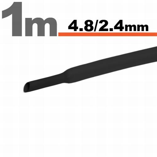 Termoskrčljiva cev - skrčka - črna - 4,8 / 2,4 mm