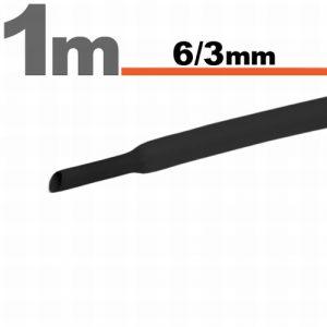 Termoskrčljiva cev - skrčka - črna - 6 / 3mm