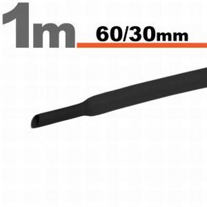 Termoskrčljiva cev - skrčka - črna - 60 / 30 mm