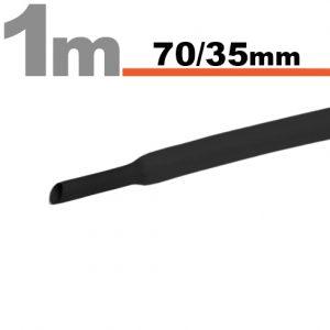 Termoskrčljiva cev - skrčka - črna - 70 / 35 mm
