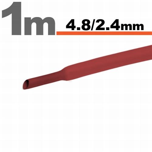 Termoskrčljiva cev - skrčka - rdeča - 4,8 / 2,4 mm