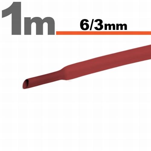 Termoskrčljiva cev - skrčka - rdeča - 6 / 3mm