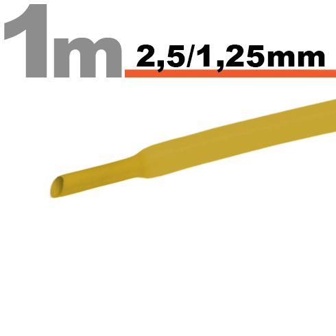 Termoskrčljiva cev - skrčka - rumena - 2,5 / 1,25 mm