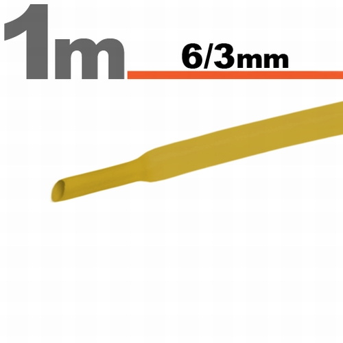 Termoskrčljiva cev - skrčka - rumena - 6 / 3mm