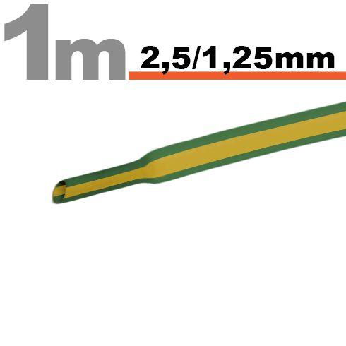 Termoskrčljiva cev - skrčka - rumeno / zelena - 2,5 / 1,25 mm