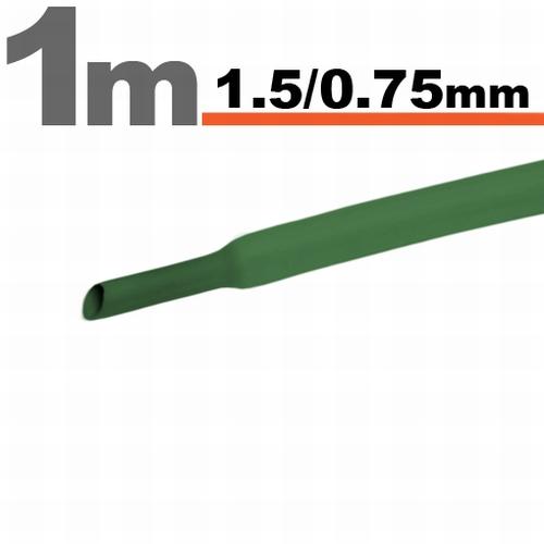 Termoskrčljiva cev - skrčka - zelena - 1,5 / 0,75 mm