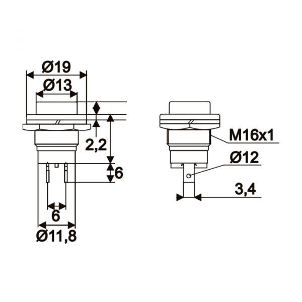 Tipkovno stikalo - 1 krog - 2 A - 250 V - OFF - (ON) - črno