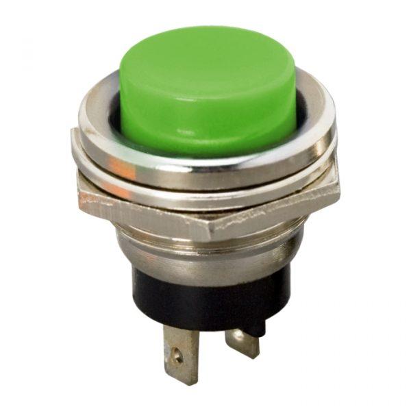 Tipkovno stikalo - 1 krog - 2 A - 250 V - OFF - (ON) - zeleno