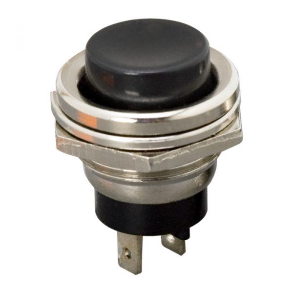 Tipkovno stikalo - 1 krog - 2 A - 250 V - ON - (OFF) - črno