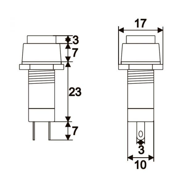 Tipkovno stikalo - 1 vezje - 1 A - 250 V - OFF - ON - črno
