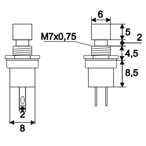 Tipkovno stikalo - 1 vezje - 1,5 A - 250 V - OFF - (ON) - črne barve