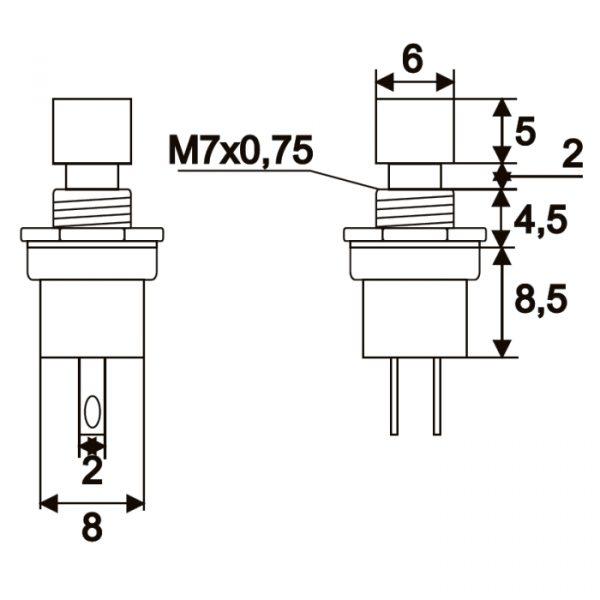 Tipkovno stikalo - 1 vezje - 1,5 A - 250 V - OFF - (ON) - rdeče barve