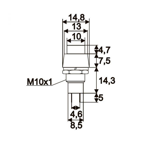 Tipkovno stikalo - 1 vezje - 2 A - 250 V - ON - OFF - črno