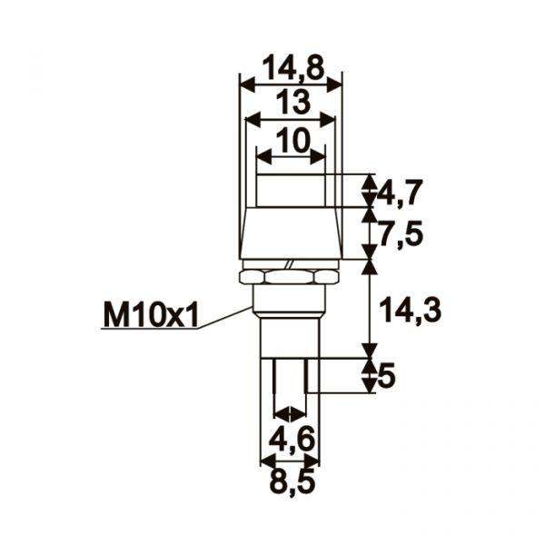 Tipkovno stikalo - 1 vezje - 2 A - 250 V - ON - OFF - rdeče