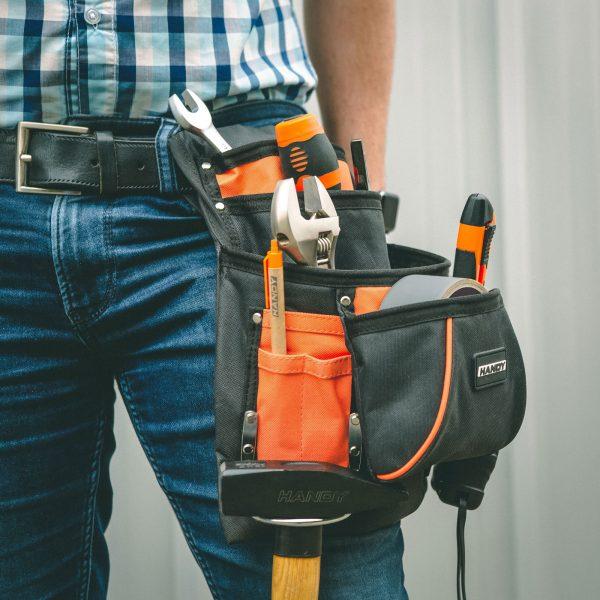 Torbica za shranjevanje orodja iz poliestra - 4 + 6 žepov z držalom za kladivo in trak