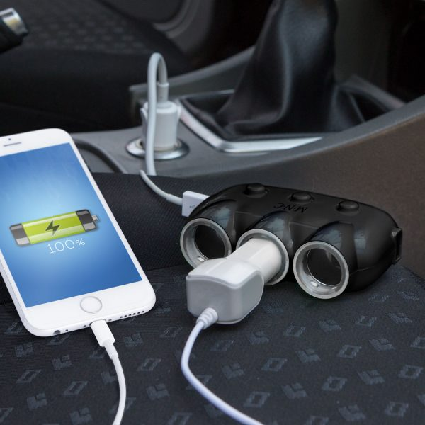 Trojni razdelilec vtičnice za vžigalnik avtomobila + 2 x USB - črn