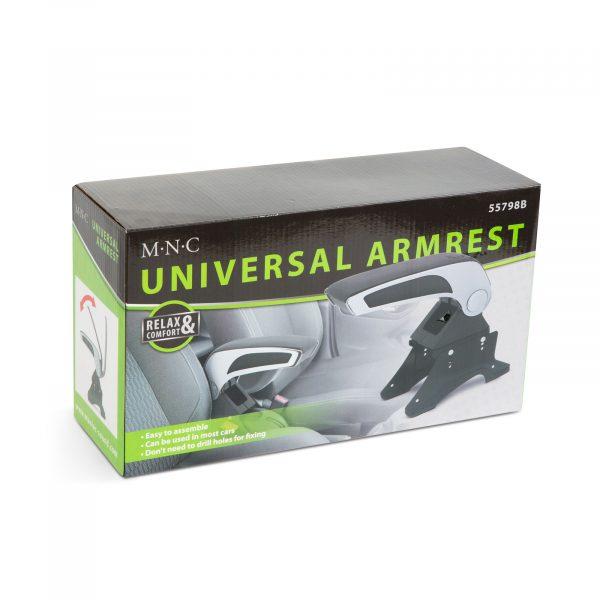 Univerzalni avtomobilski naslon za roke s predalom - črna / siva