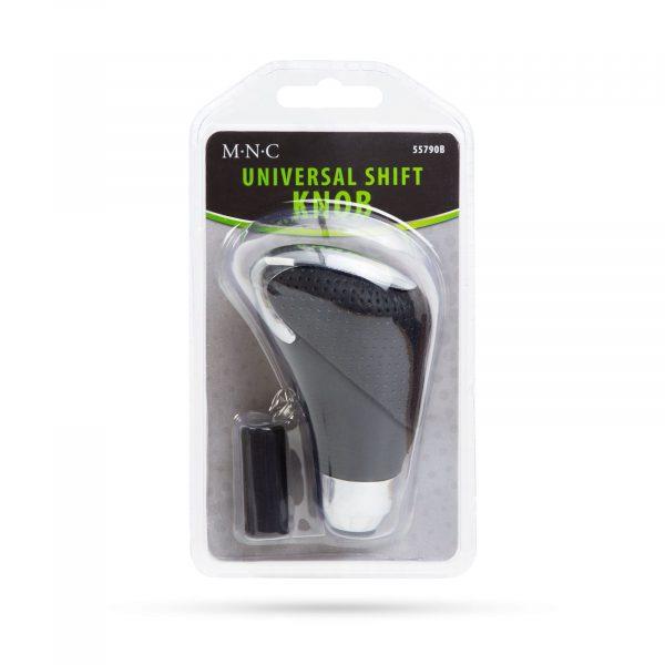 Univerzalni gumb za ročico menjalnik iz usnja - krom / črna