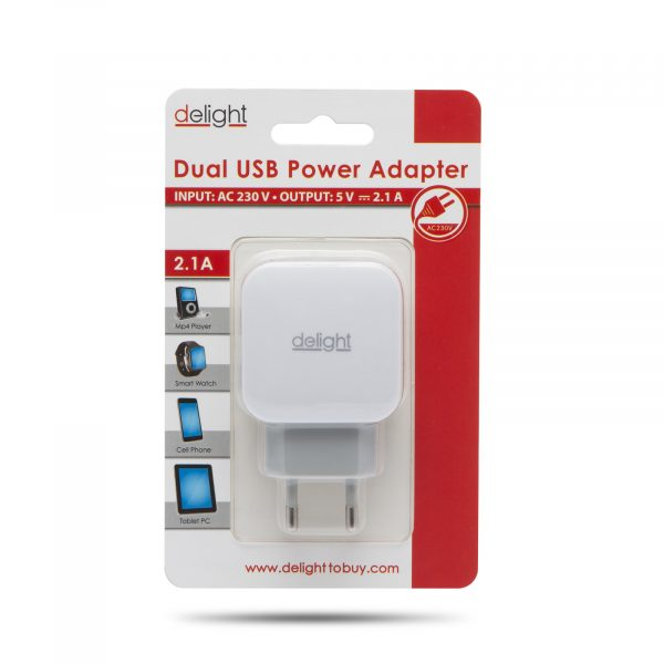 USB napajalnik - 2 x USB - bel