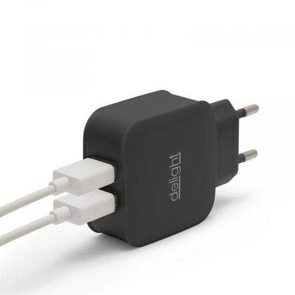 USB napajalnik - 2 x USB - črn
