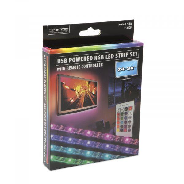 """USB RGB LED trak s kontrolerjem - 24-38 """" 2 x 30 cm, 2 x 50 cm"""