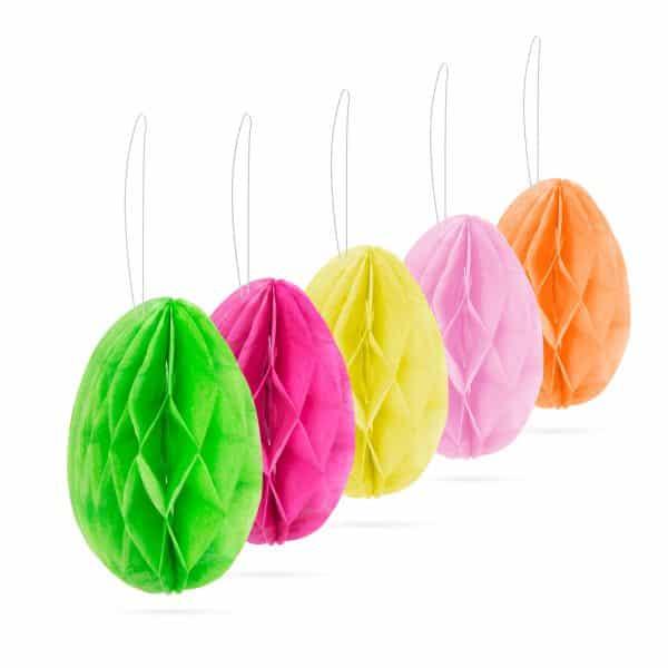 Velikonočna grilanda - jajčka - z obešalnikom - papir - 5 kosov / paket