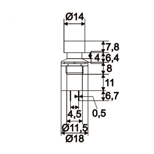 Vgradno stikalo - 1 krog - 1A - 250V - OFF - (ON) - črne barve