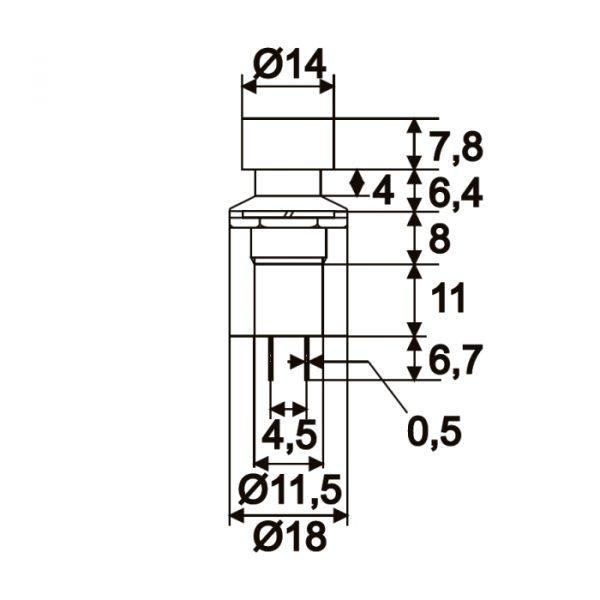 Vgradno stikalo - 1 krog - 1A - 250V - ON - OFF - rdeče barve