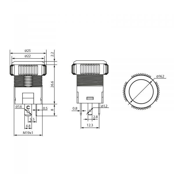Vgradno stikalo - 20A - 12V - IP67 - OFF - (ON) - oranžna LED