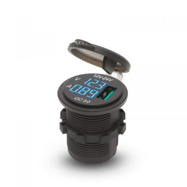 Vgrajdna USB vtičnica za zamenjavo vtičnice vžigalnika Z LED zaslonom s prikazom napetosti - modra