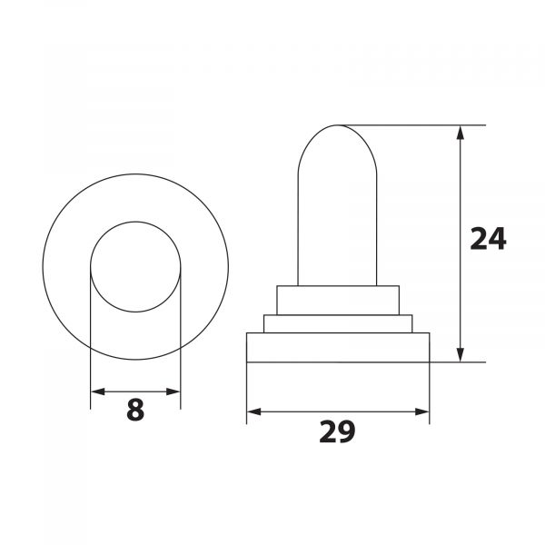 Vodotesna silikonska kapa za stikala 16,5 x 26 mm