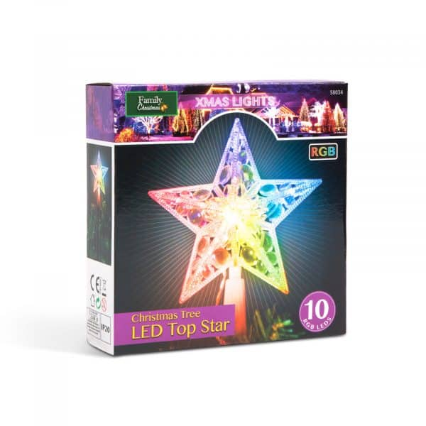 Vrhnja LED dekoracija božičnega drevesa - 10 LED - 15 cm - RGB - 2 x AA