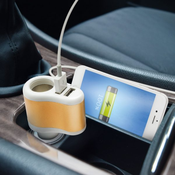 Vtičnica za vžigalnik z dvema USB vhodoma - 2.1A + 1.0A - bela/zlata