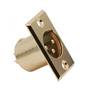 XLR vtič • 3 poli - izvedba za pritrditev na plošče, pozlačen