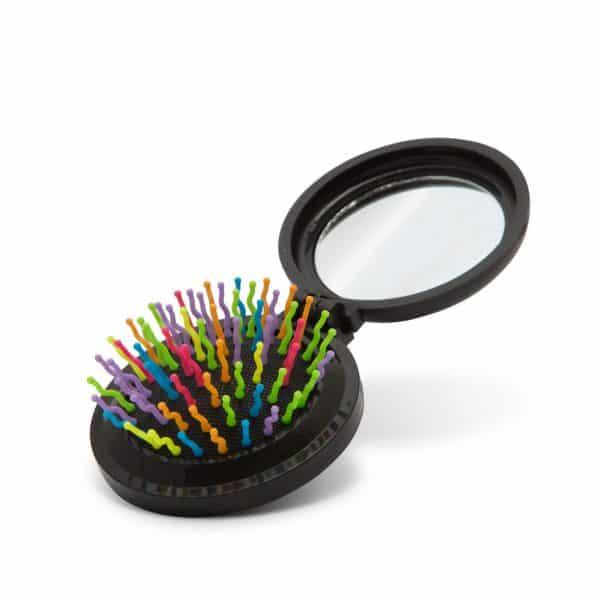 Zložljiva krtača za lase z ogledalom