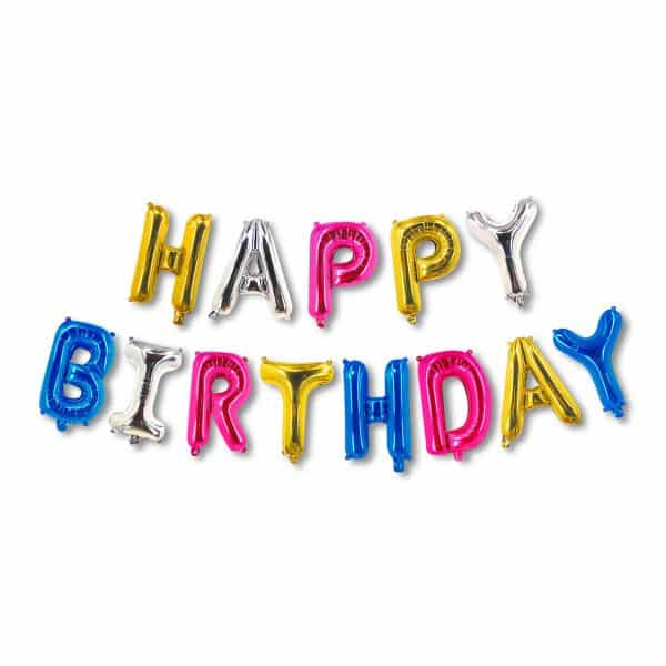 """3D balon """"Happy Birthday"""" - večbarven"""