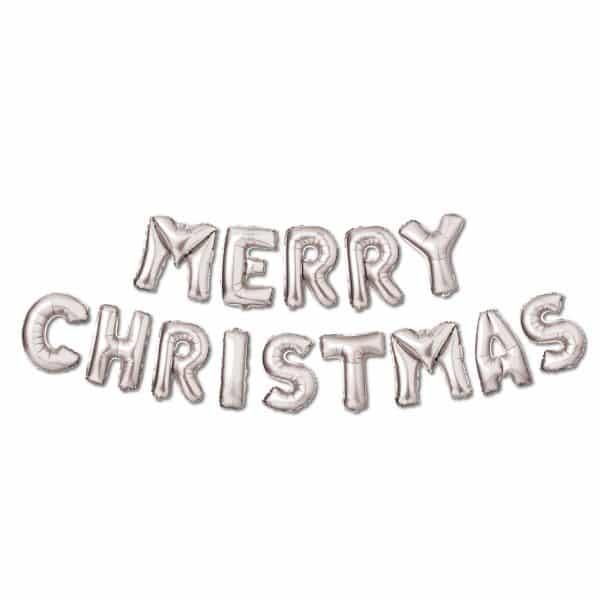 "3D božični balon ""Vesel božič"" - srebrna"