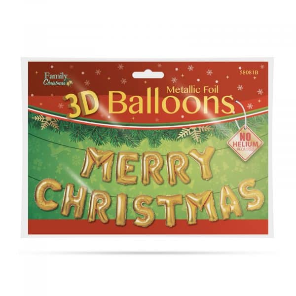 "3D božični balon ""Vesel božič"" - zlata"