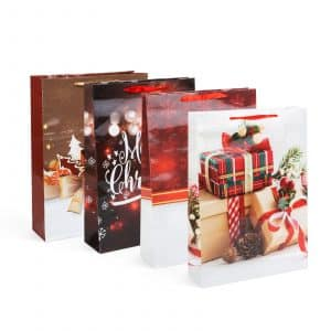 Božična darilna vrečka - 330 x 102 x 457 mm - 12 kosov / paket