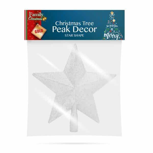 Božični dekor za vrh božičnega drevesca - oblika zvezde - 20 x 19 cm - srebrna