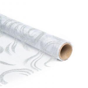 Božični namizni tekač - srebrn - 180 x 28 cm