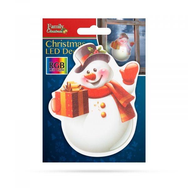 Božični RGB LED dekor - samolepilni - snežak