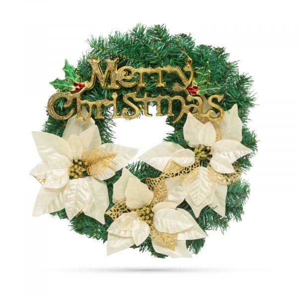 Božični venček - zlat - 40 cm