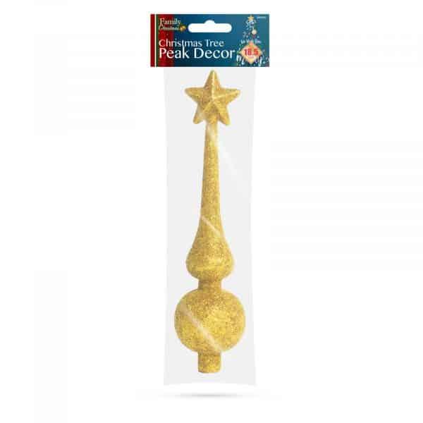 Dekoracija vrha božičnega drevesa - 18,5 cm - zlata