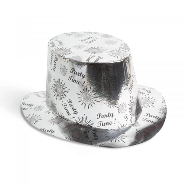 Klobuk - sijoč, srebrna barvs - 27 x 14 cm