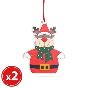 Komplet okraskov za božično drevo - jelen - lesen - 8 x 6 cm - 2 kosa / paket