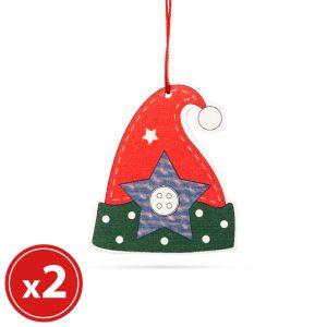 Komplet okraskov za božično drevo - klobuk gnome - lesen - 8 x 6 cm - 2 kosa / paket