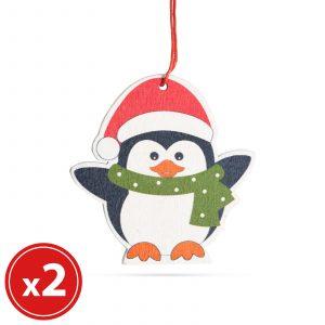 Komplet okraskov za božično drevo - pingvin - lesen - 8 x 6 cm - 2 kosa / paket