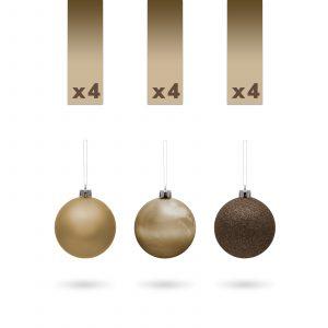 Komplet okrasnih krogel - 3 cm - bron - 12 kosov / pak