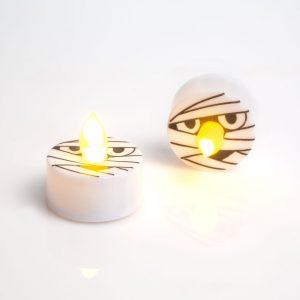 LED čajna svečka - noč čarovnic, mumija - 2 kosa / paket